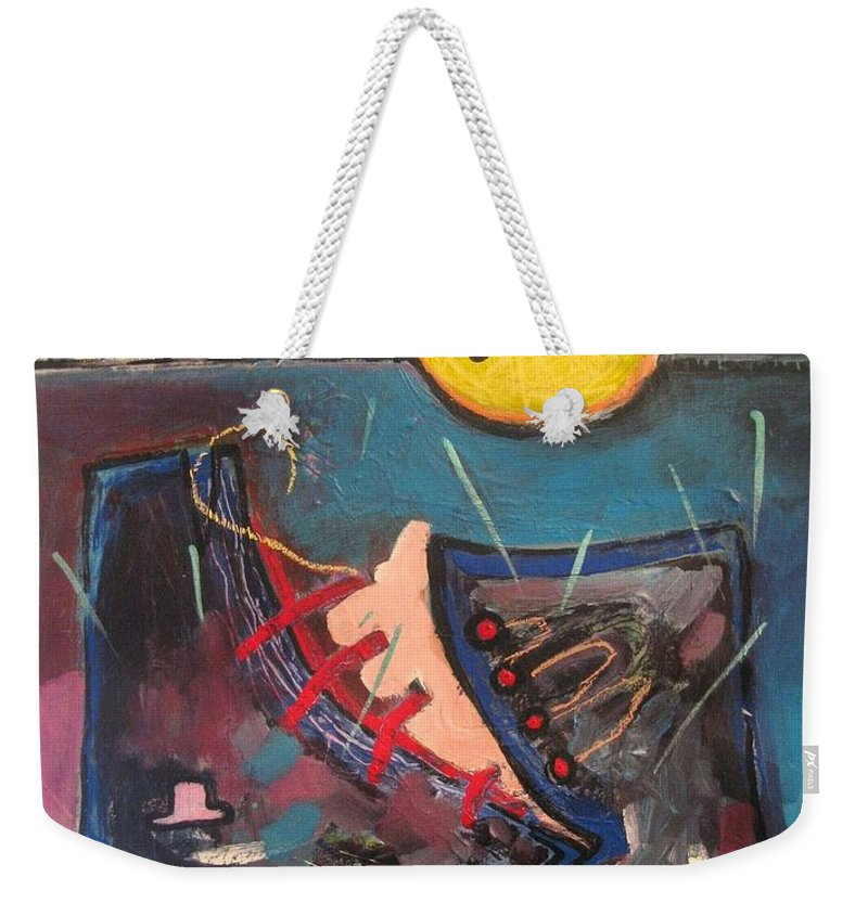 Abstract Paintings Weekender Tote Bag featuring the painting Forgotten Days by Seon-Jeong Kim
