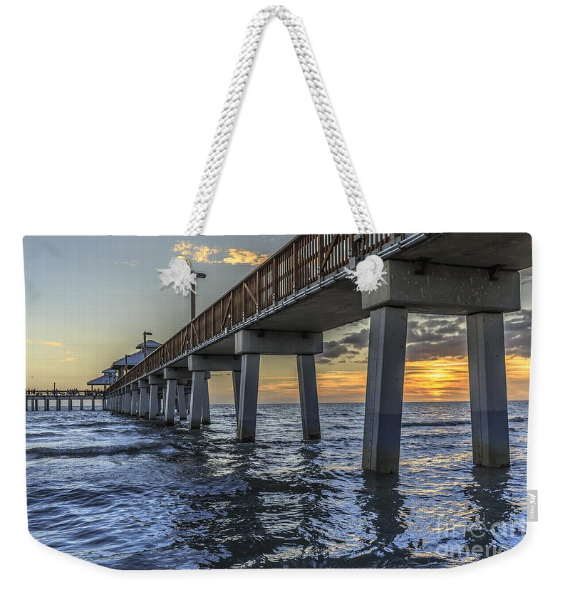 Christmas Weekender Tote Bag featuring the photograph Fort Myers Beach Fishing Pier by Edward Fielding