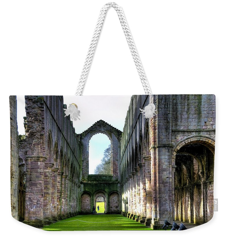 Castle Weekender Tote Bag featuring the photograph Fountains Abbey 7 by Svetlana Sewell