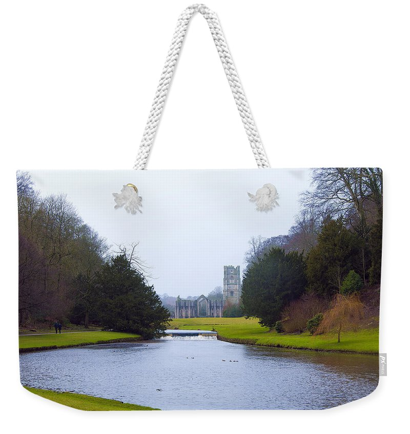 Castle Weekender Tote Bag featuring the photograph Fountains Abbey Lake by Svetlana Sewell