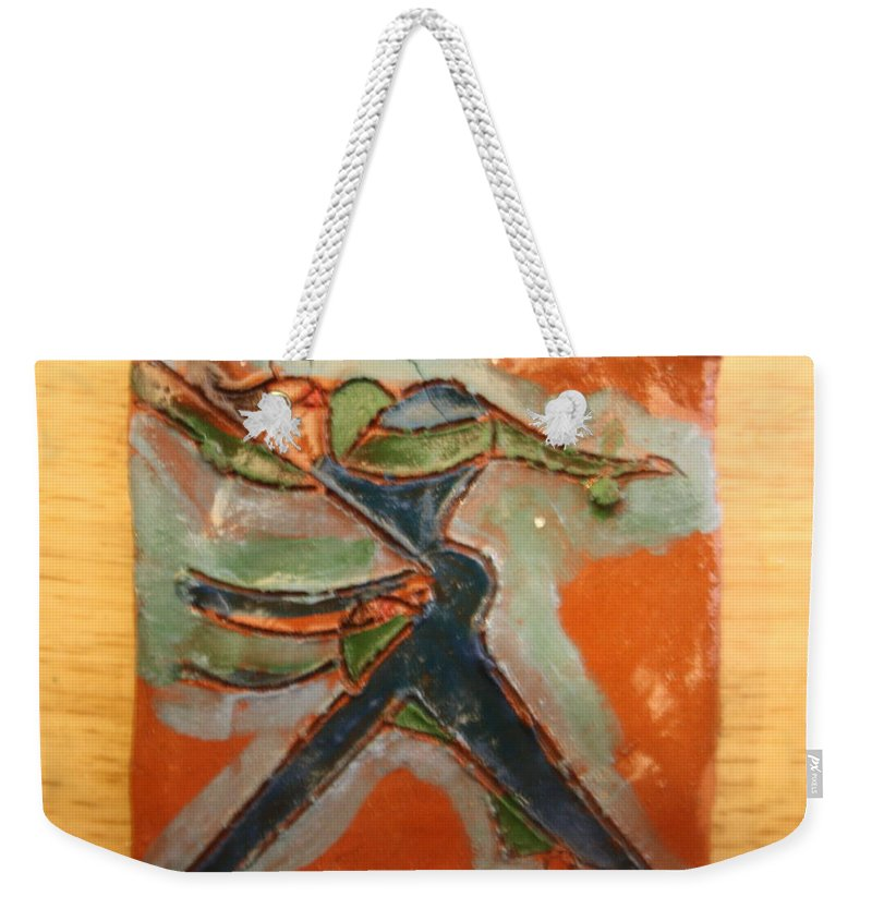 Jesus Weekender Tote Bag featuring the ceramic art Frances - Tile by Gloria Ssali
