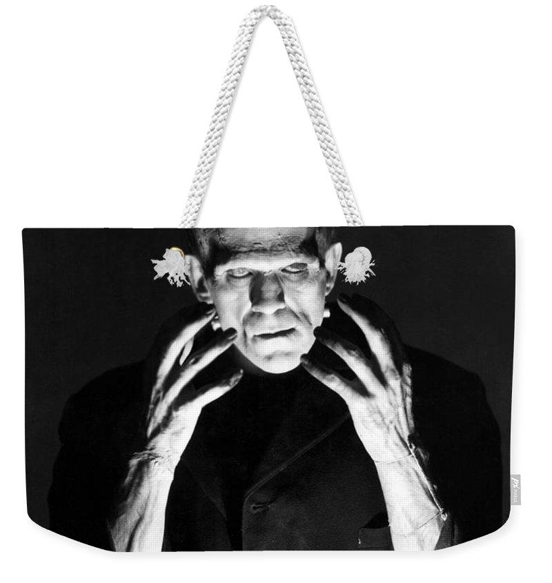 Frankensteins Weekender Tote Bag featuring the photograph Frankensteins Monster Boris Karloff by R Muirhead Art