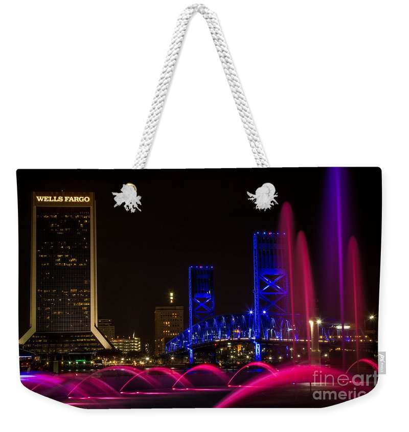 Bridge Weekender Tote Bag featuring the photograph Friendship Park Fountain by Dawna Moore Photography