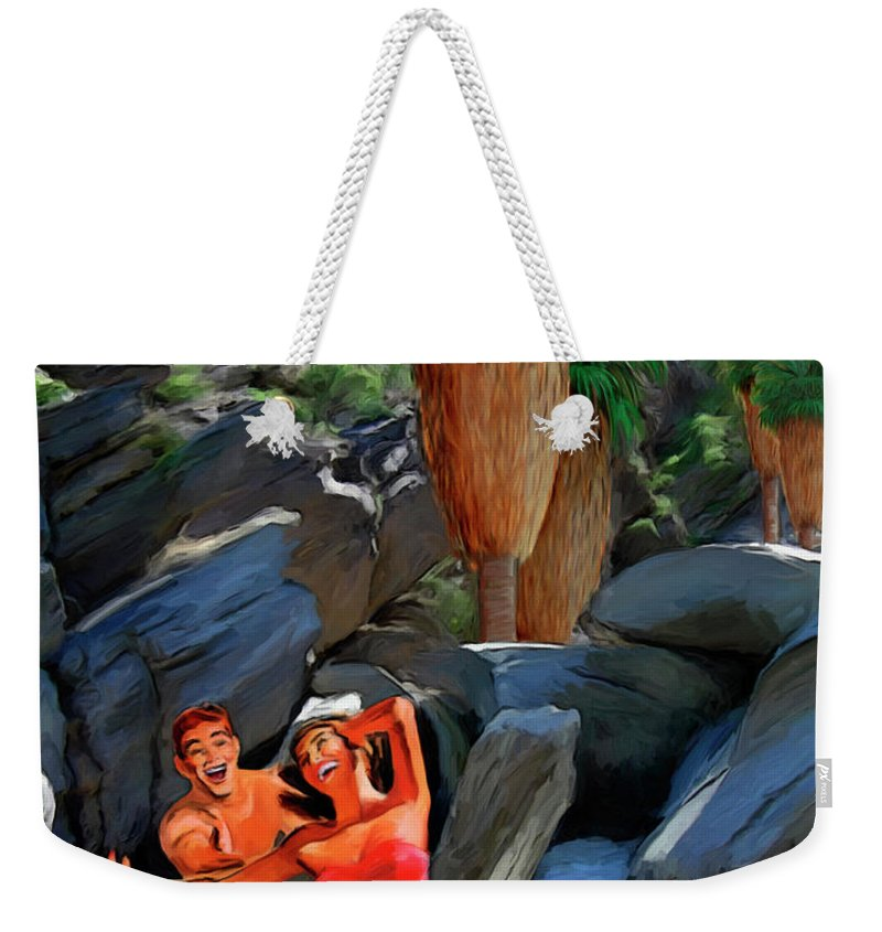 Desert Weekender Tote Bag featuring the painting Frolicking In The Canyons by Snake Jagger