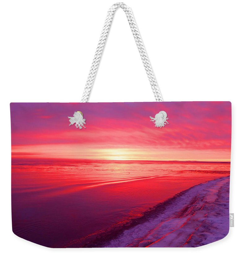 Sunrise Weekender Tote Bag featuring the photograph Frozen by Alison Gimpel