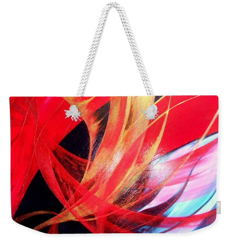 Fusion.passion Weekender Tote Bag featuring the painting Fusion by Kumiko Mayer