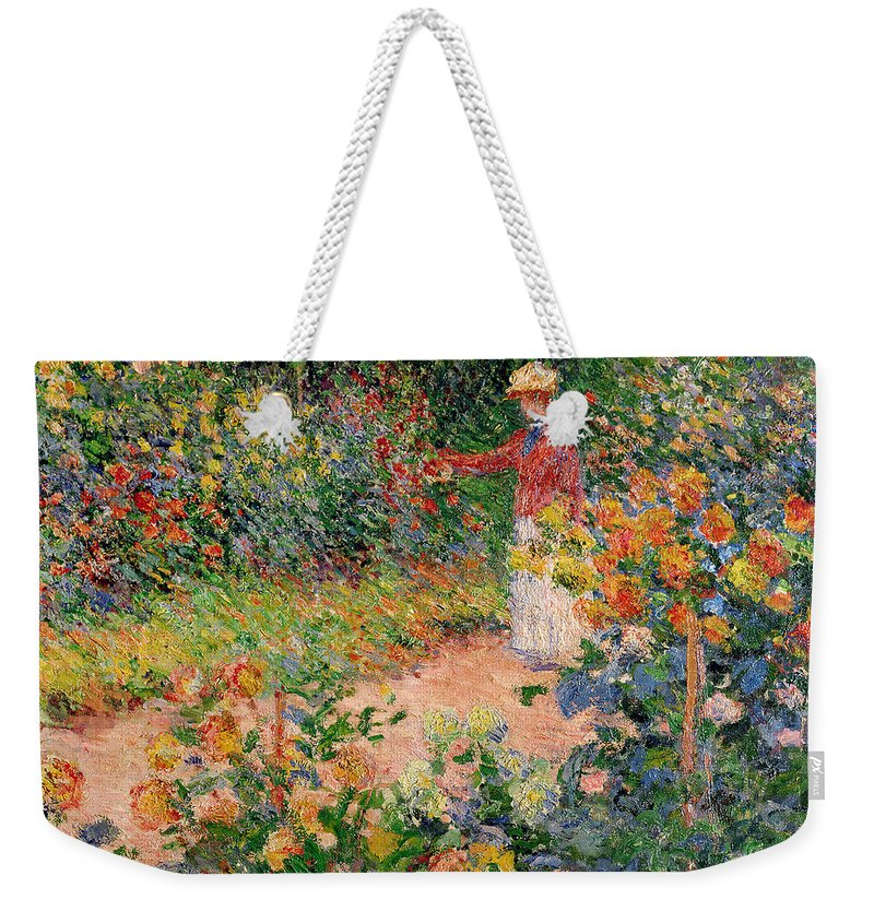 Garden Weekender Tote Bag featuring the painting Garden at Giverny by Claude Monet