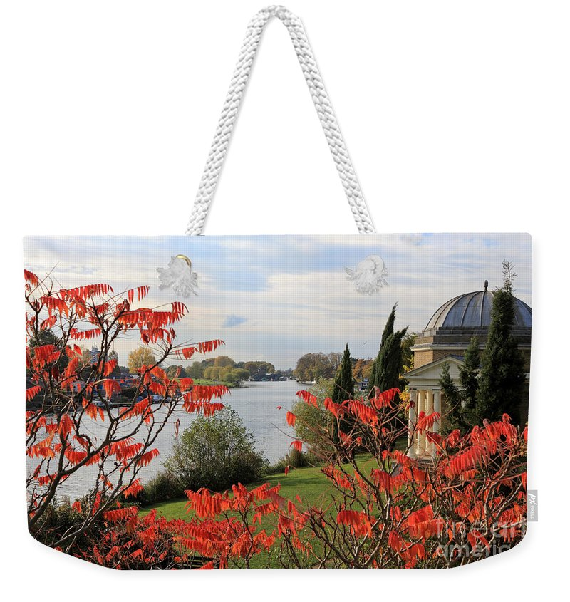 Garrick Temple On The River Thames At Hampton Schumach Tree Red Leaves England Weekender Tote Bag featuring the photograph Garrick Temple On The River Thames At Hampton by Julia Gavin