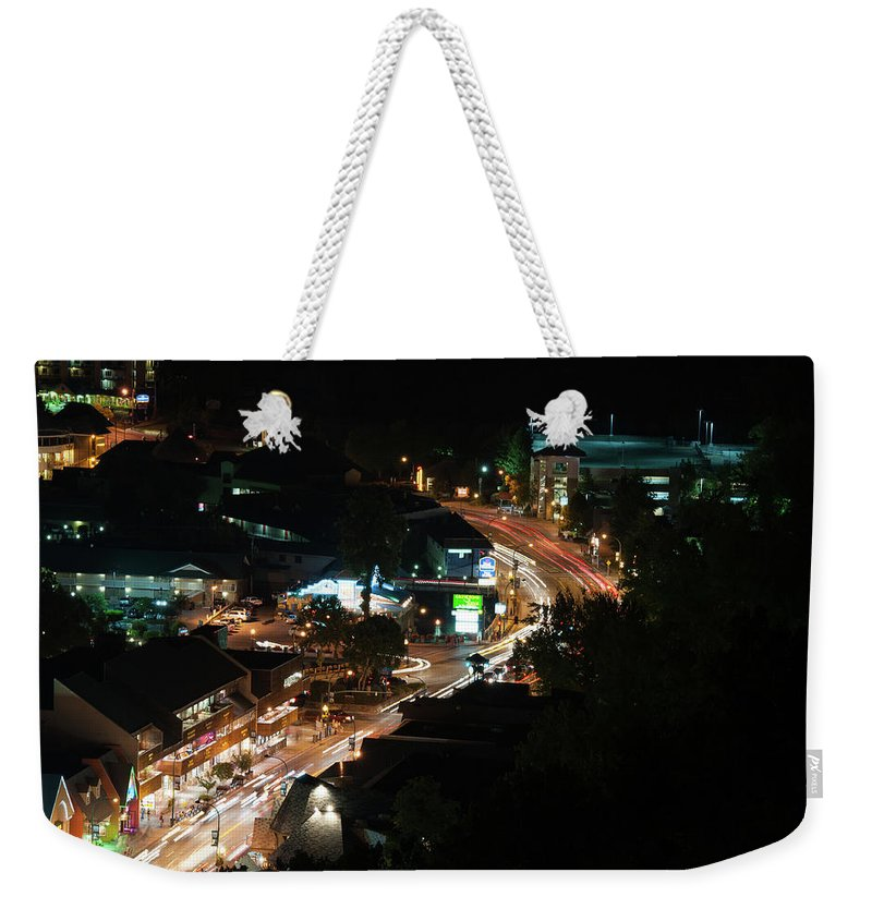 Space Weekender Tote Bag featuring the photograph Gatlinburg, Tennessee At Night From The Space Needle by Timothy Wildey