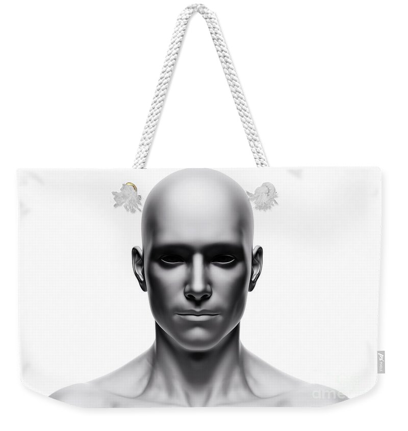 generic human man face front view futuristic weekender tote bag