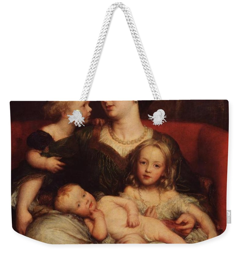 George Frederic Watts 1817�1904  Mrs George Augustus Frederick Cavendish-bentinck And Her Children Weekender Tote Bag featuring the painting George Augustus Frederick Cavendish by George Frederic