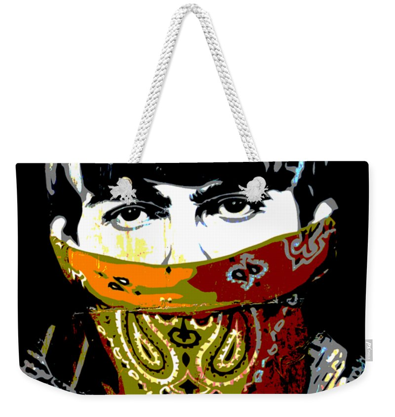 Banksy Weekender Tote Bag featuring the photograph George Harrison wearing a face mask by RicardMN Photography