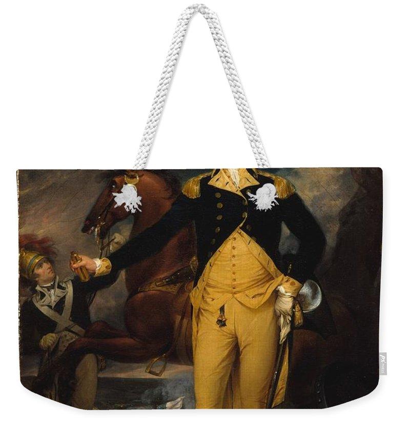 John Trumbull Weekender Tote Bag featuring the painting George Washington Before The Battle Of Trenton by John Trumbull