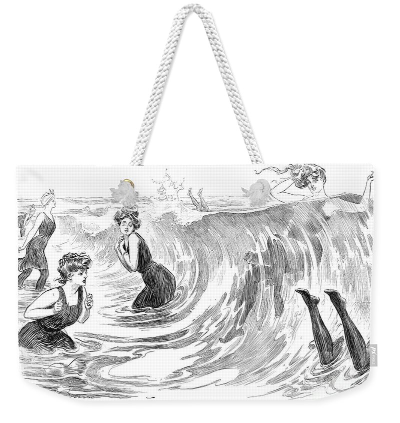 1902 Weekender Tote Bag featuring the photograph Gibson: Bather, 1902 by Granger