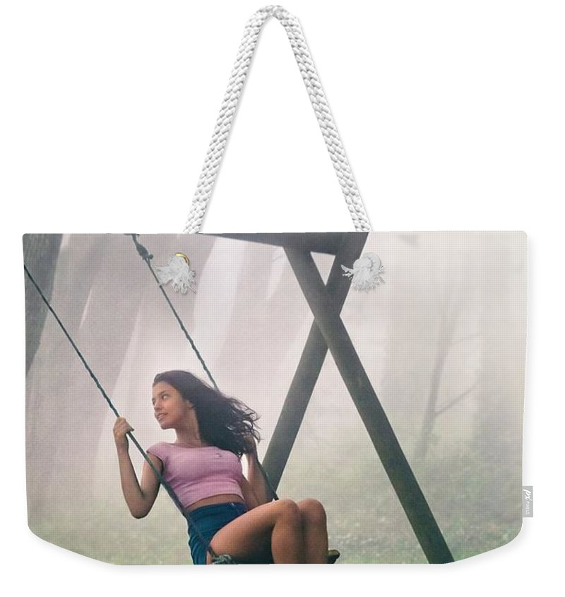 Swing Weekender Tote Bag featuring the photograph Girl In Swing by Carlos Caetano