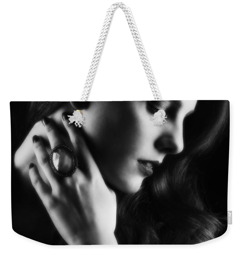 Hollywood Weekender Tote Bag featuring the photograph Glamorous Woman by Amanda Elwell