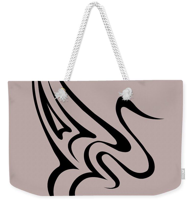Weekender Tote Bag featuring the digital art Gliding Swan by Jamie Lynn