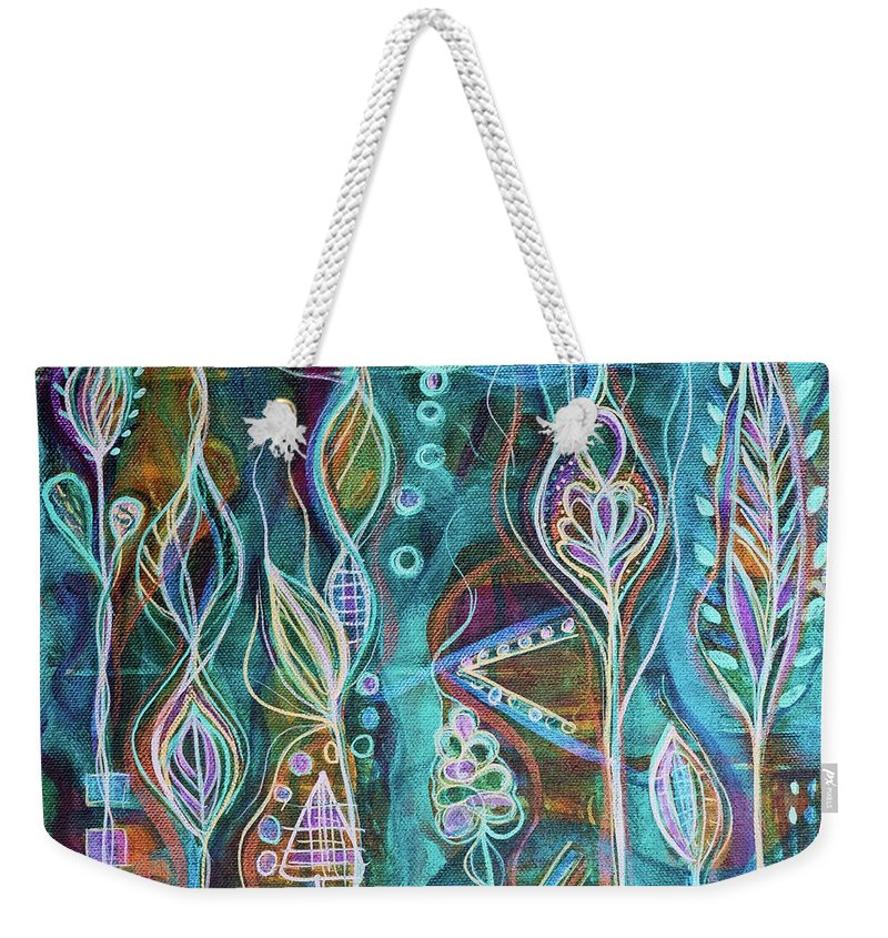 Intuitive Art Weekender Tote Bag featuring the painting Glow by Angel Fritz