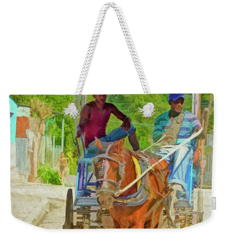 Cuba Weekender Tote Bag featuring the photograph Going To Market 2 by Claude LeTien