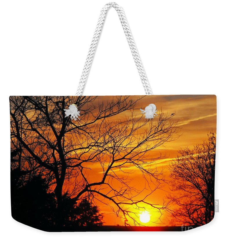 Kansas Weekender Tote Bag featuring the photograph Golden Ending by Concolleen's Visions Smith