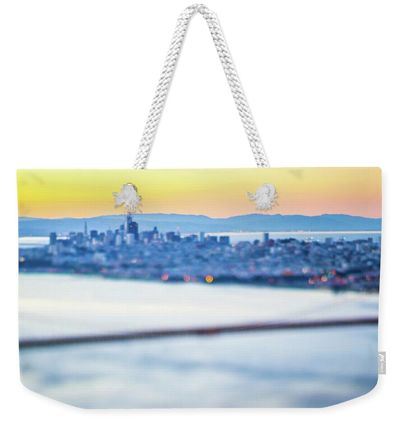 Golden Weekender Tote Bag featuring the photograph Golden Gate Bridge San Francisco California West Coast Sunrise by Alex Grichenko