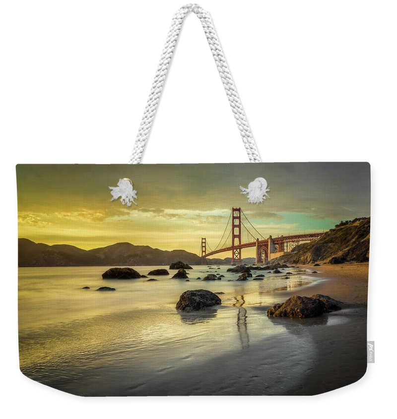 San Francisco Weekender Tote Bag featuring the photograph Golden Gate Sunset by James Udall