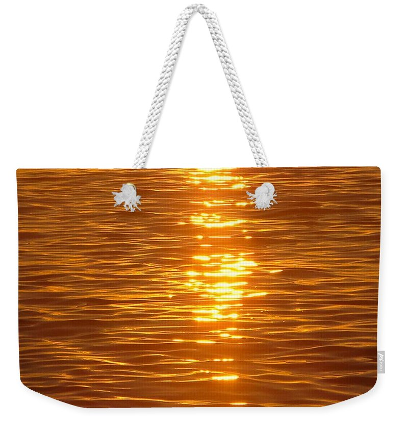 Golden Weekender Tote Bag featuring the photograph Golden Reflections by Diana Brown