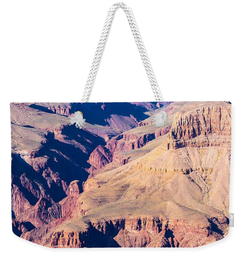 Canyon Weekender Tote Bag featuring the photograph Grand Canyon Sunny Day With Blue Sky by Alex Grichenko