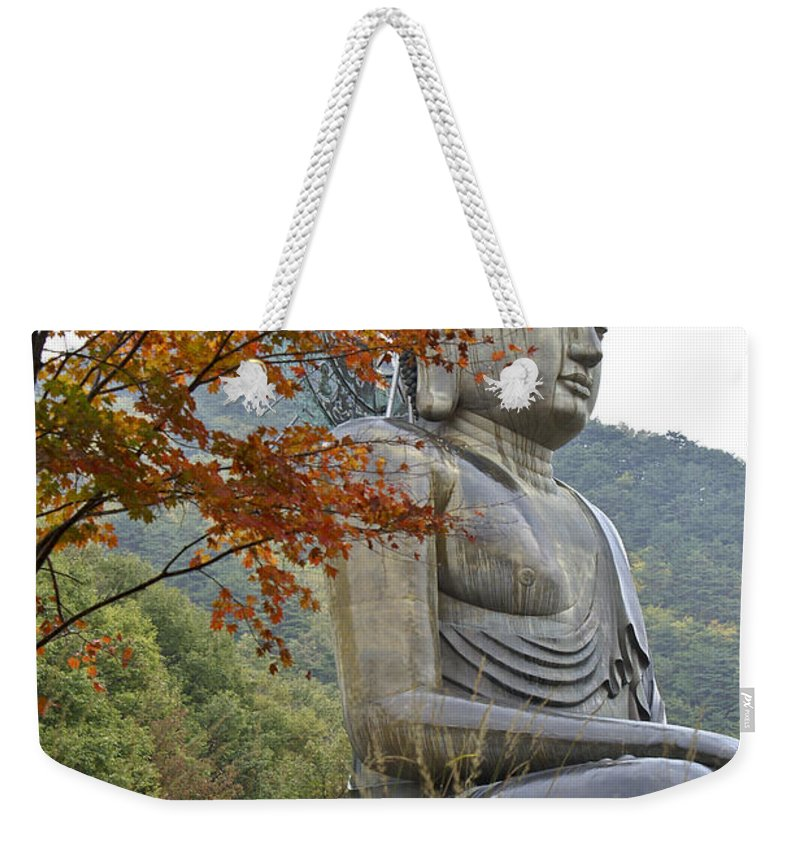 Buddha Weekender Tote Bag featuring the photograph Great Buddha In Autumn by Michele Burgess