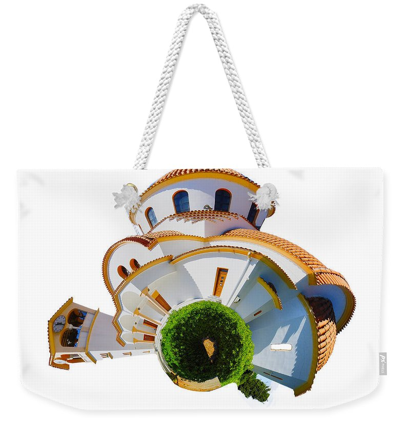 Crete Weekender Tote Bag featuring the photograph Greek Orthodox Church by Smart Aviation