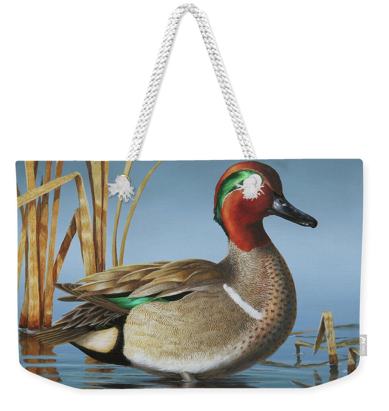 Teal Weekender Tote Bag featuring the painting Greenwing Teal Drake by Guy Crittenden