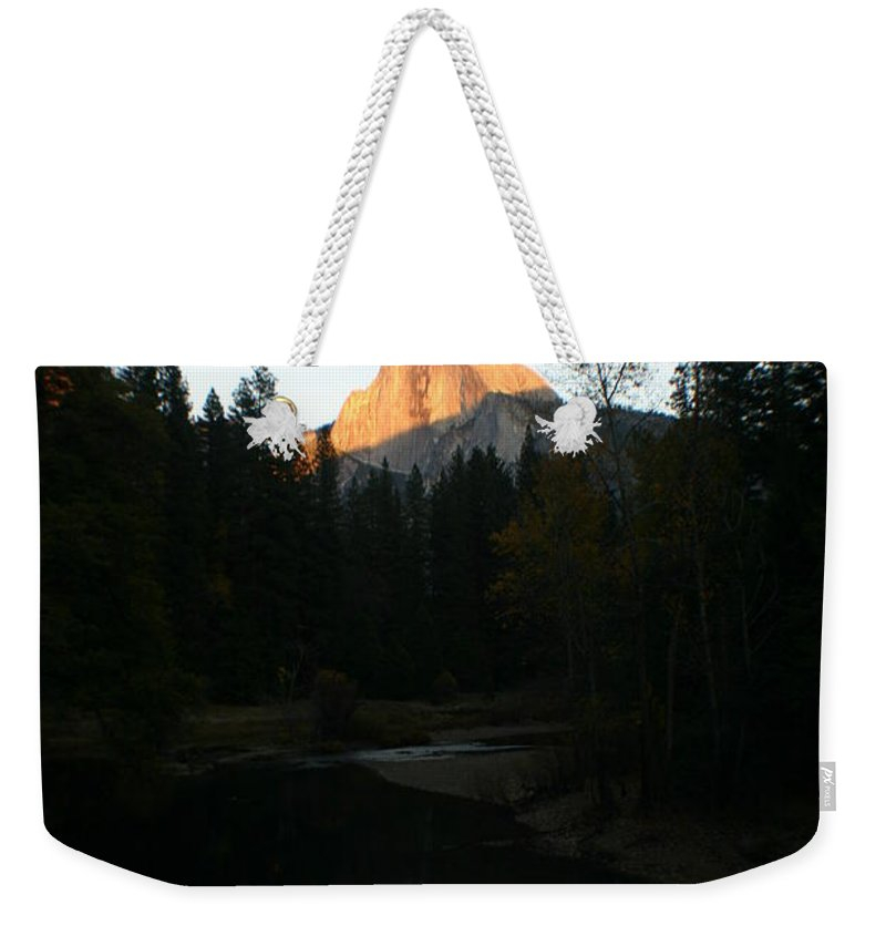 Half Dome Weekender Tote Bag featuring the photograph Half Dome Sunset by Travis Day