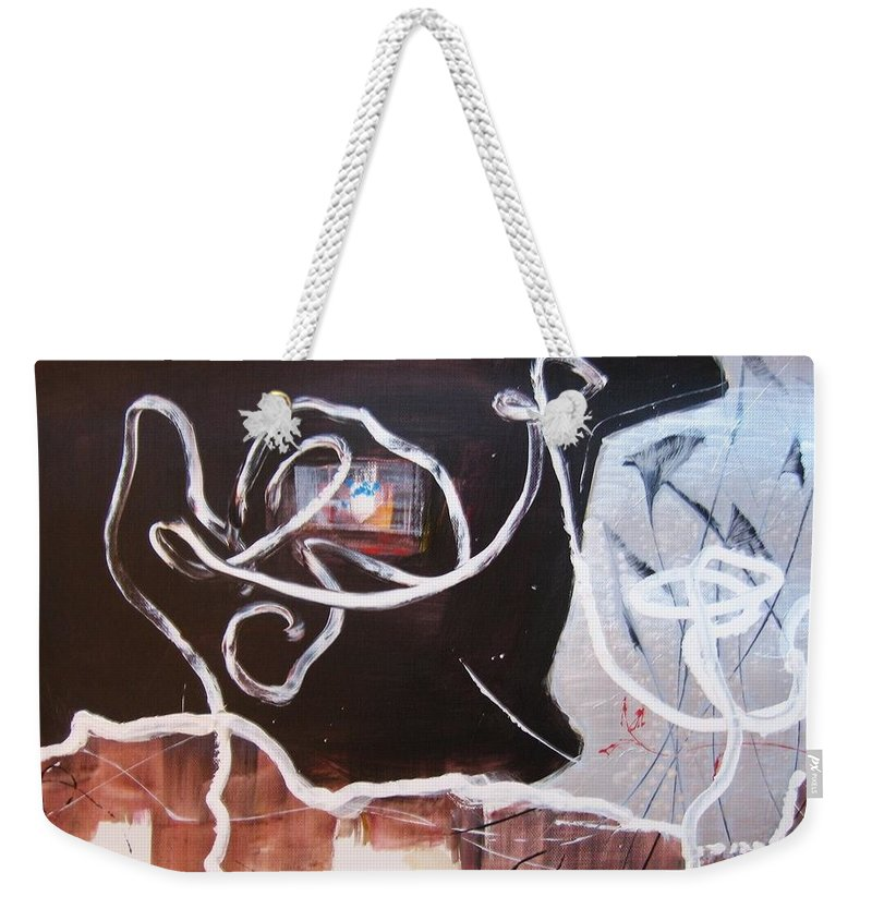 Abstract Paintings Weekender Tote Bag featuring the painting Hand In Hand by Seon-Jeong Kim