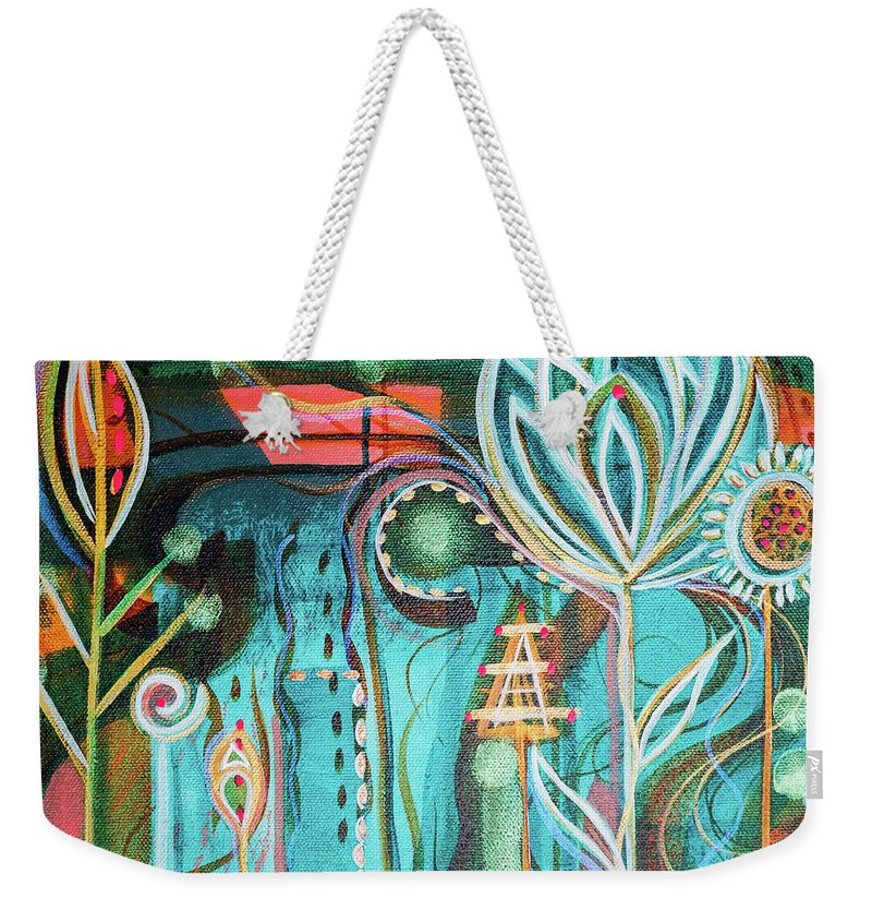 Intuitive Art Weekender Tote Bag featuring the painting Happy by Angel Fritz