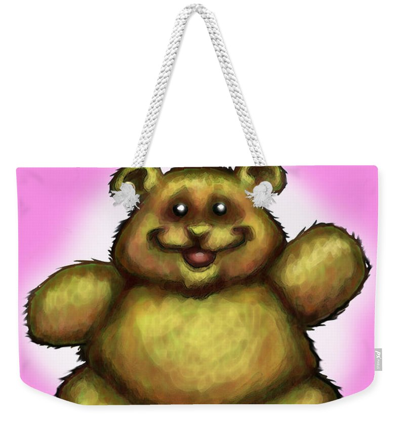 Pink Weekender Tote Bag featuring the greeting card Happy Birthday Bear by Kevin Middleton