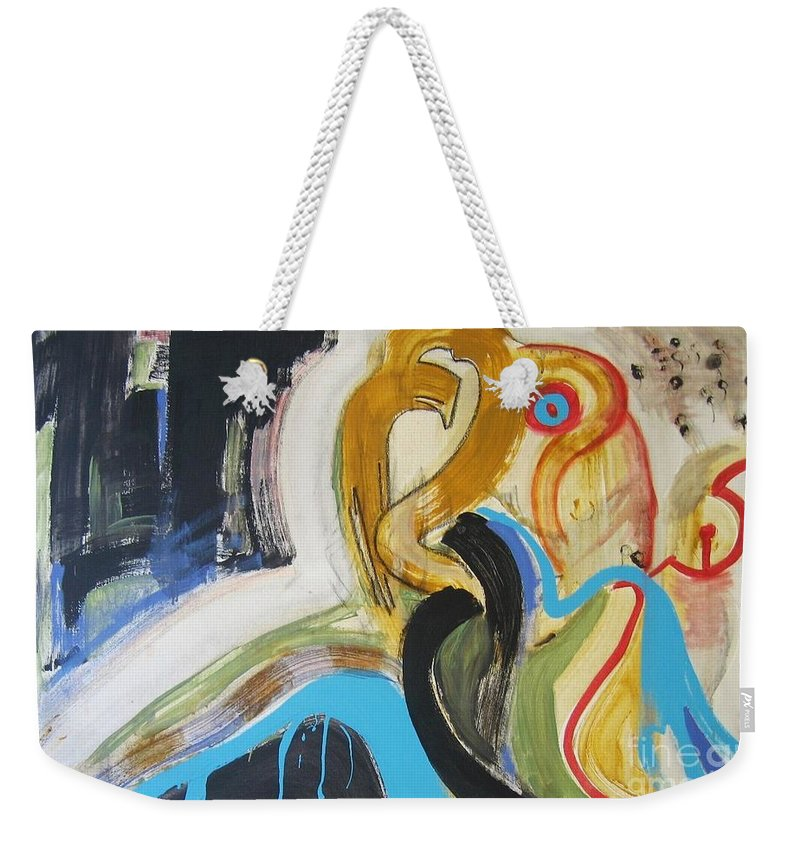 Abstract Art Paintings Weekender Tote Bag featuring the painting Hard To Escape by Seon-Jeong Kim