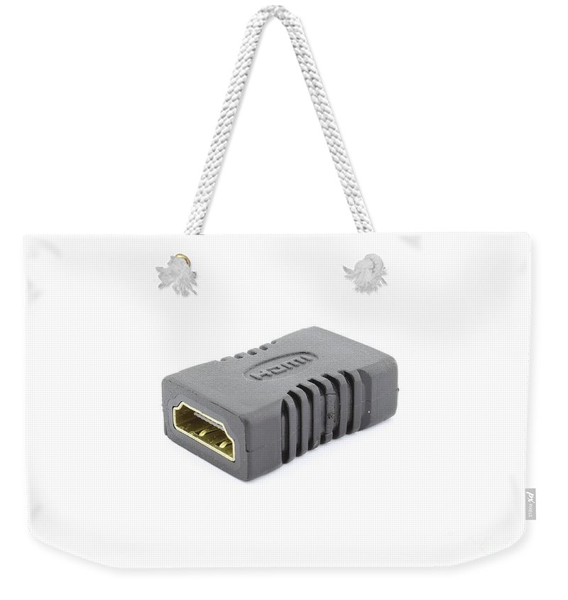 Pin Weekender Tote Bag featuring the photograph Hdmi Female To Female Adapter by Mihancea Petru
