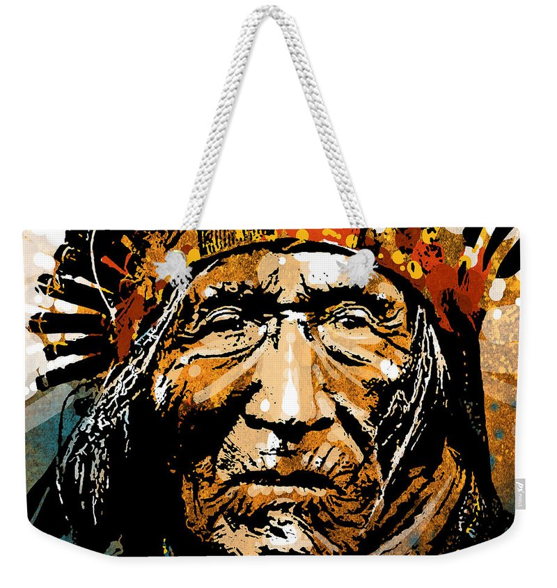 Native American Weekender Tote Bag featuring the painting He Dog by Paul Sachtleben