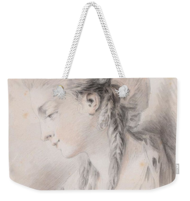 Jean Baptiste Huet (1745-1811) Head Of A Girl Weekender Tote Bag featuring the painting Head Of A Girl by Jean Baptiste