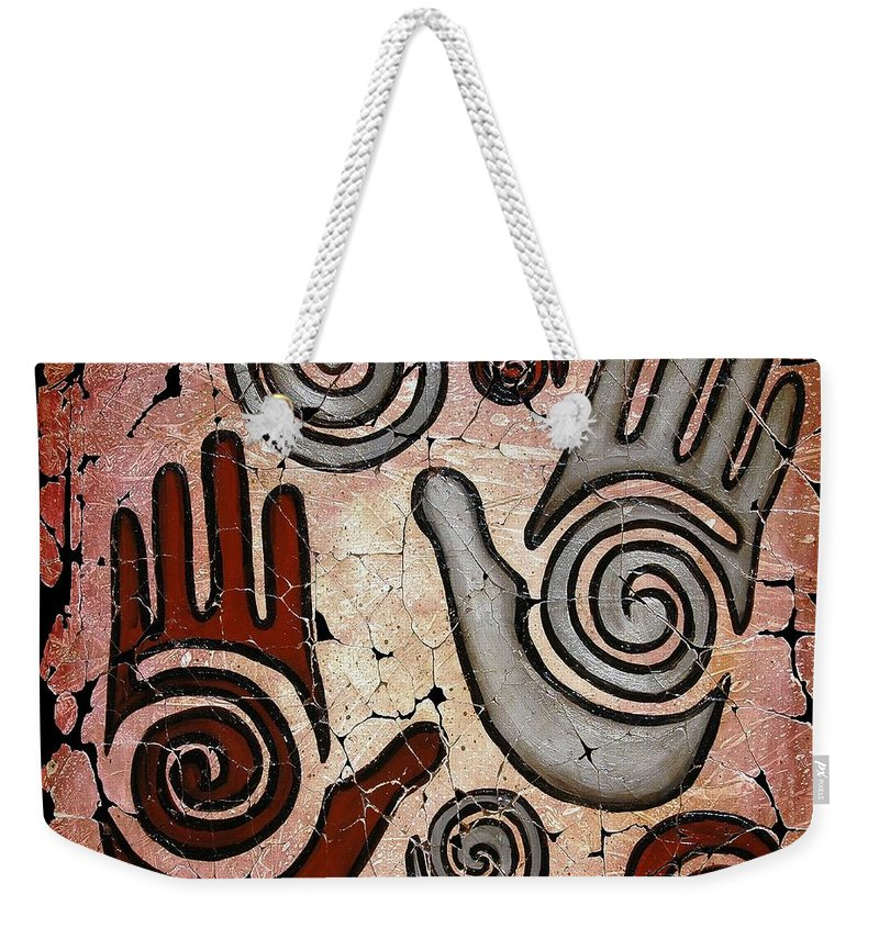 Healing Hands Weekender Tote Bag featuring the painting Healing Hands Fresco by OLena Art Brand