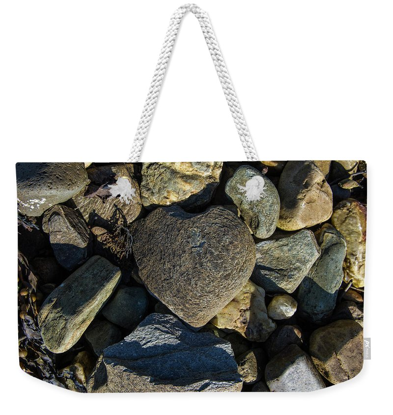 Loch Fyne Weekender Tote Bag featuring the photograph Heart Shaped Stone Loch Fyne by Gary Eason