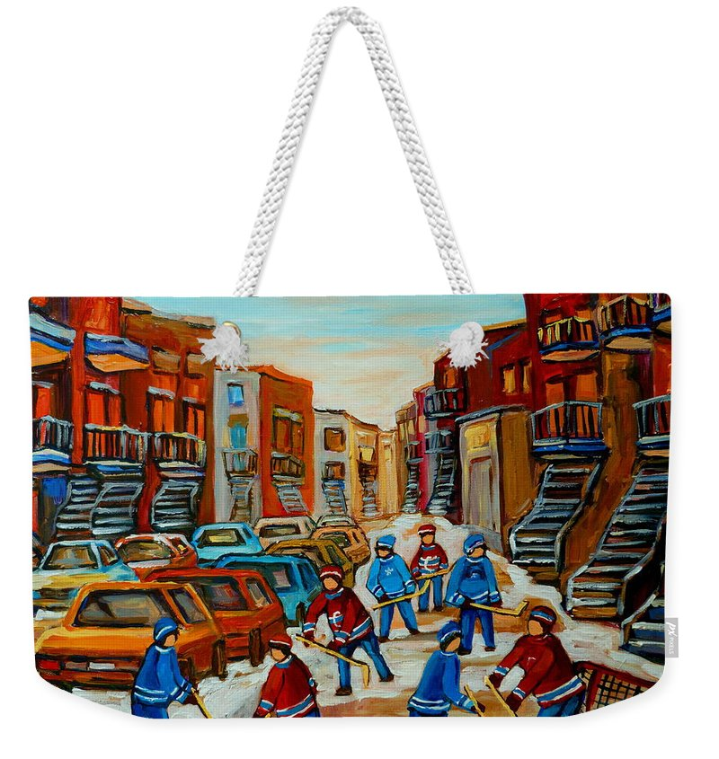 Heat Of The Game Weekender Tote Bag featuring the painting Heat Of The Game by Carole Spandau
