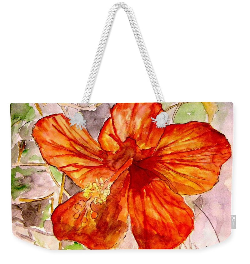 Hibiscus Weekender Tote Bag featuring the painting Hibiscus 2 by Derek Mccrea