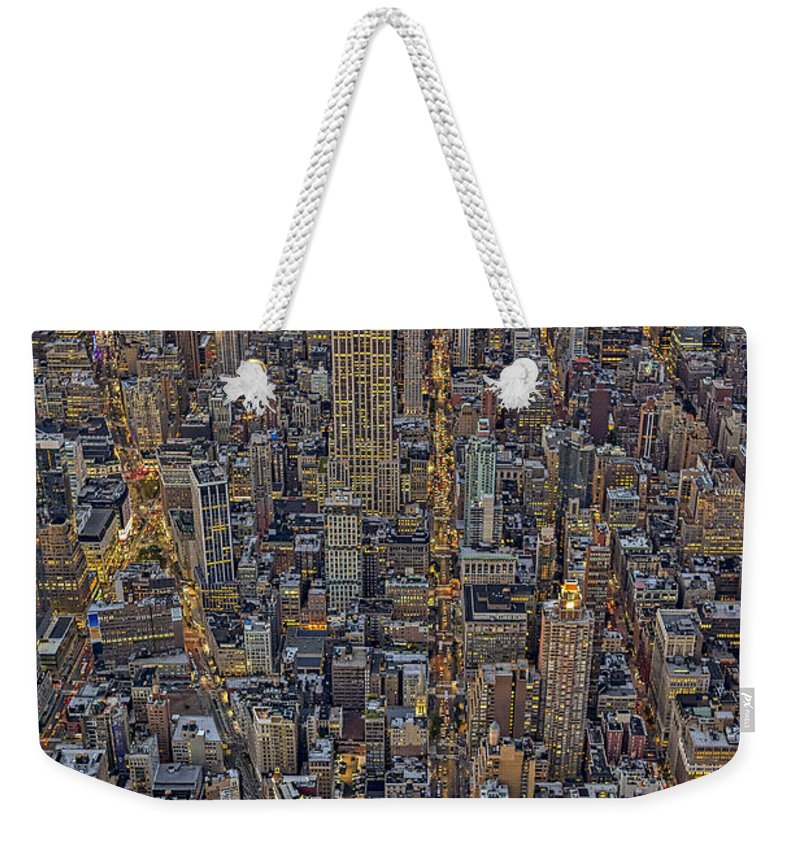 Aerial View Weekender Tote Bag featuring the photograph High Over Manhattan by Susan Candelario