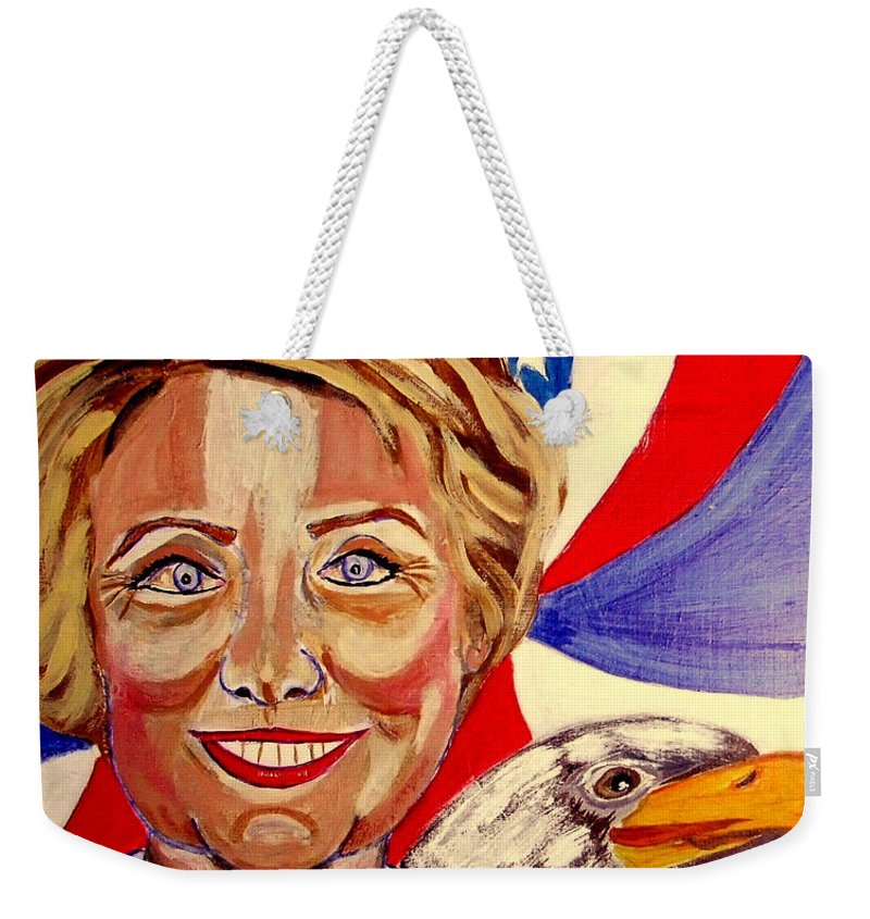 Hillimericks! Presidential Elections Weekender Tote Bag featuring the painting Hillary Clinton by Rusty Gladdish