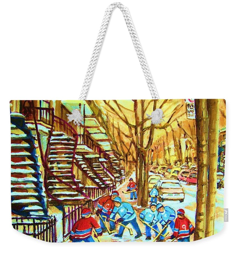 Montreal Weekender Tote Bag featuring the painting Hockey Game Near Winding Staircases by Carole Spandau