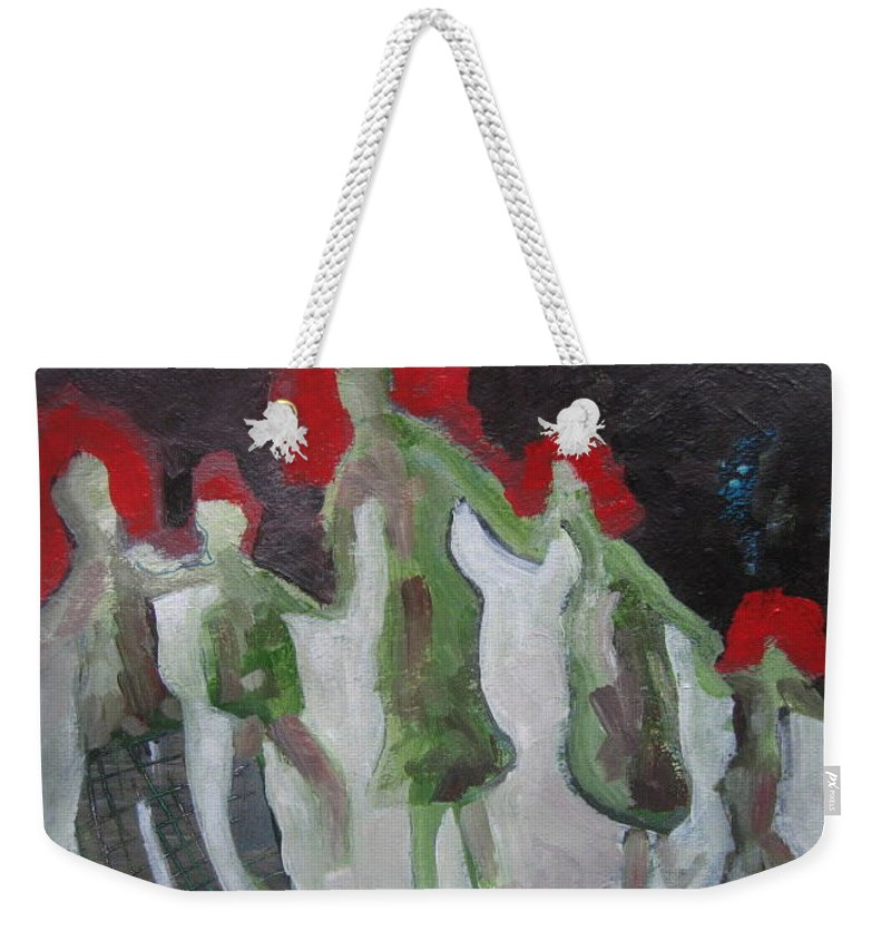 Abstract Paintings Weekender Tote Bag featuring the painting Holding Hands by Seon-Jeong Kim