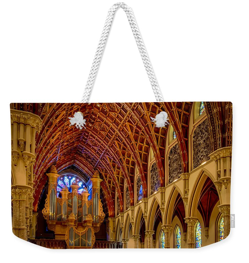 Holy Name Weekender Tote Bag featuring the photograph Holy Name Organ Loft by Mike Burgquist