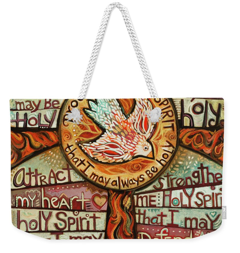 Jen Norton Weekender Tote Bag featuring the painting Holy Spirit Prayer by St. Augustine by Jen Norton