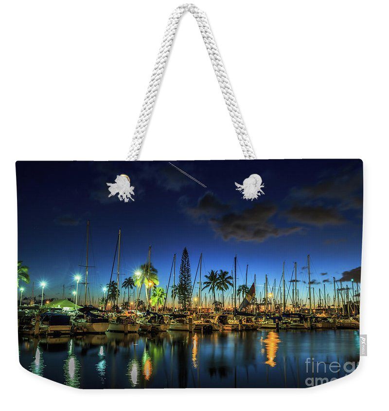 Ala Wai Harbor Weekender Tote Bag featuring the photograph Honolulu Harbor By Night by Benny Marty